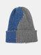 Unisex Knitted Color-match Irregular Patchwork All-match Warmth Beanie Hat - Blue+Dark Gray