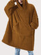 Flannel Thicken Warm Blanket Hooded Cozy Soft Oversized Robes Homewear Top With Kangaroo Pocket - Khaki