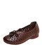 Women Bow Soft Breathable Summer Comfortable Flat Loafers Shoes - Brown