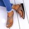 Large Size Women Casual Solid Color Clip Toe Wedges Slippers - Khaki