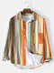 Mens Ethnic Style Print Striped Lapel Long Sleeve Shirt With Pocket - Coffee