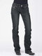 Embroidery Pockets Solid Color Casual Jeans For Women - Black