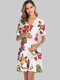 Maternity Floral Print Ruffled V-neck Lace-up Dress - White