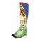Plus Size Women Folkways Sunflowers Pattern Casual Splicing Zipper Knee Boots - Green