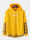 Mens Plaid Patchwork Letter Back Print Cotton Casual Drawstring Hoodies - Yellow