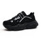 Men Mesh Fabric Breathable Wearable Sole Luminous Sport Chunky Sneakers - Black