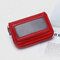Women Genuine Leather 11 Card Slots Money Clip Wallet - Red