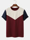 Mens Design Contrasting Colors Stitching Short Sleeve Crew Neck T-Shirt - Wine Red