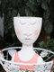1PC Art Portrait Flower Pot Vase Sculpture Resin Human Face Family Flower Pot Handmade Garden Storage Flower Arrangement Home Decors - Woman-1