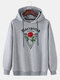 Mens Rose Pattern Chest Print Plain Pullover Casual Hoodie - Gray