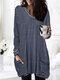 Striped Print V-neck Long Sleeve Plus Size Casual Blouse for Women - Navy