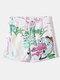 Mens Quick-Drying Funny Cartoon Graffiti Print Drawstring Swim Trunks With Pocket - White