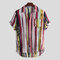 Mens Multi Color Graffiti Bolso no peito Manga curta Rodada Hem Loose Shirts
