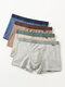 Multipacks Mens Solid Color Comfy Breathable Hip Lift Cotton Boxer Brief - Gray