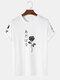 メンズローズ柄日本語キャラクタープリント半袖ストリートTシャツ - 白い