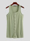 Mens Plus Size Sexy Striped Sleeveless Body Sculpting Gym Button Tank Top Short Jumpsuits - Green