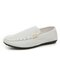 Men Canvas Light Weight Soft Slippers Casual Driving Loafers - White