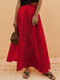 Casual Solid Color Elastic Waist Plus Size A-line Skirt - Red
