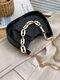 Casual Thick Chain Faux Fur Pleated Design Underarm Bag Simple Multi-Carry Dumpling Bag - Black