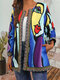 Abstract Print Webbing Patchwork Plus Size Jackets for Women - Blue