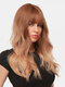 24 Inch Brown Gradient Long Curly Hair Air Bangs Fluffy Soft Full Head Cover Wigs - 24 Inch