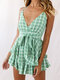 Plaid Floral Print Knotted Layered Strap V-neck Holiday Culottes Romper - Green