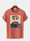 Men Cotton Cartoon Character Printed Casual T-Shirt - Red