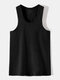 Men Sproty Casual Comfortable Soft Bottoming Vest - Black