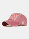 Men Washed Cotton Embroidery Baseball Cap Outdoor Sunshade Adjustable Hats - Red