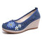 Women Handmade Floral Embroidered High Heels Cloth Wedges Shoes - Blue