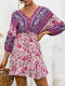 Summer Holiday Knotted V-neck Floral Print Bohemian Dress for Wowen - Purple