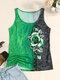 Camiseta sin mangas con cuello redondo y estampado de rosas para Mujer - Verde