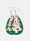 Christmas Double Layer Leather Women Earrings Drop Shape Christmas Tree Pendant Earrings - #05