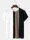 Mens Block Stripe Stitching Knitted Preppy Short Sleeve T-Shirts - Black