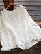 Calico Printed Ruffle Sleeve O-neck Blouse For Women - White