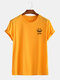 Mens Funny Smile Face Pattern Short Sleeve Basic T-Shirts - Yellow