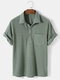 Mens Solid Color Waffle Casual Lapel Short Sleeve Henley Shirt - Green