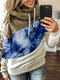 Contrast Color Patchwork Print Casual Hoodie For Women - Blue