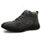 Men Vintage Microfiber Leather Hand Stitching Ankle Boots - Green