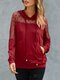 Women Solid Color Patchwork Mesh Pocket Long Sleeve Casual Hoodie - Wine Red