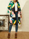Vintage Printed Long Sleeve Turn-down Collar Coat For Women - Green