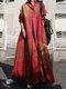 منقوشة طباعة طية صدر السترة طويلة الأكمام زر Plus فستان ماكسي مع جيوب - أحمر