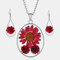 Vintage Natural Dried Flower Necklace Earring Set Resin Daisy Necklace Geometric Water Drop Earrings - Red