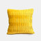 Solid Color Sofa Pillow Geometric Fold Flannel Piping Cushion Cover Living Room Bedside Backrest - Yellow