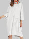 Solid Color O-neck 3/4 Sleeves Loose Dress With Pockets - White