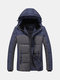 Patchwork Stitching Pockets Thicken Warm Plus Size Hooded Cotton Jacket for Men