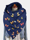 Women Dacron Colorful Butterfly Pattern Print With Buckle Casual Thicken Warmth Shawl Scarf - Blue
