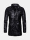 Men's Retro Outdoor PU Coat Stand Collar Leather Mid-Long Jacket - Black