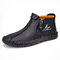 Men Microfiber Leather  Hand Stitching Side Zipper Ankle Boots - Black