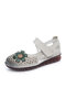 Women Ethnic Flower Decor Hollow Out Comfy Soft Hook Loop Casual Closed Toe Sandals - Beige